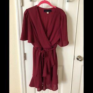 Francesca's mock wrap wine colored flows dress